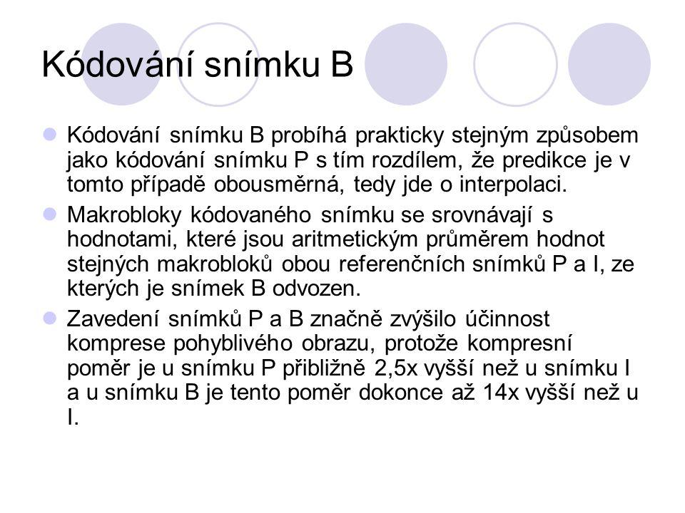 Kódování snímku B Kódování snímku B probíhá prakticky stejným způsobem jako kódování snímku P s tím rozdílem, že predikce je v tomto případě obousměrn