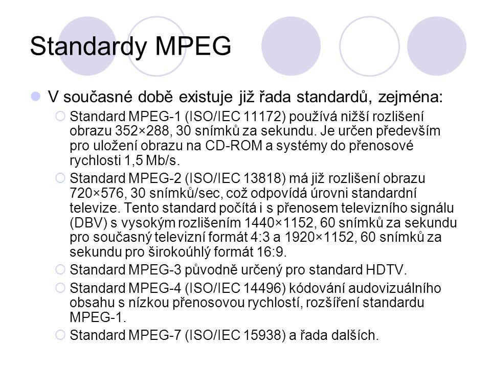 Standardy MPEG V současné době existuje již řada standardů, zejména:  Standard MPEG-1 (ISO/IEC 11172) používá nižší rozlišení obrazu 352×288, 30 sním