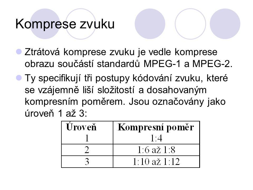Komprese zvuku Ztrátová komprese zvuku je vedle komprese obrazu součástí standardů MPEG-1 a MPEG-2. Ty specifikují tři postupy kódování zvuku, které s