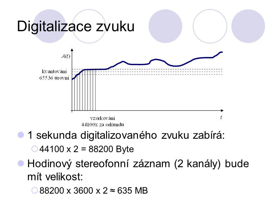 Digitalizace zvuku 1 sekunda digitalizovaného zvuku zabírá:  44100 x 2 = 88200 Byte Hodinový stereofonní záznam (2 kanály) bude mít velikost:  88200