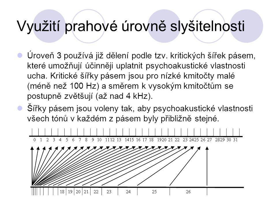 Využití prahové úrovně slyšitelnosti Úroveň 3 používá již dělení podle tzv. kritických šířek pásem, které umožňují účinněji uplatnit psychoakustické v