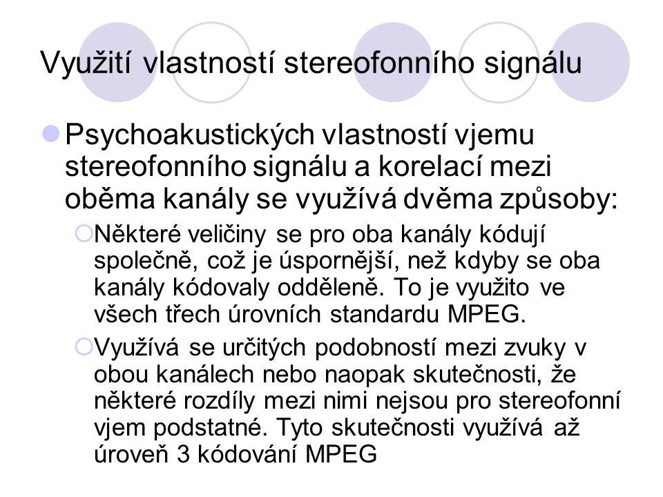 Využití vlastností stereofonního signálu Psychoakustických vlastností vjemu stereofonního signálu a korelací mezi oběma kanály se využívá dvěma způsob