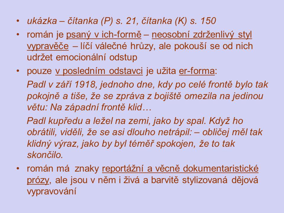 ukázka – čítanka (P) s. 21, čítanka (K) s.