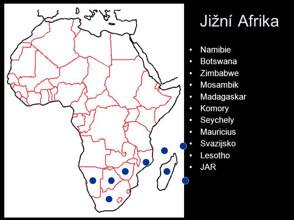 Namibie Botswana Zimbabwe Mosambik Madagaskar Komory Seychely Mauricius Svazijsko Lesotho JAR