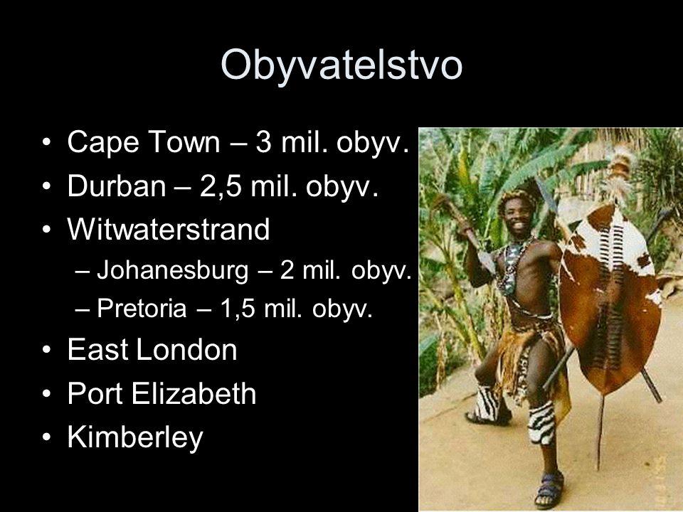 Obyvatelstvo Cape Town – 3 mil. obyv. Durban – 2,5 mil. obyv. Witwaterstrand –Johanesburg – 2 mil. obyv. –Pretoria – 1,5 mil. obyv. East London Port E