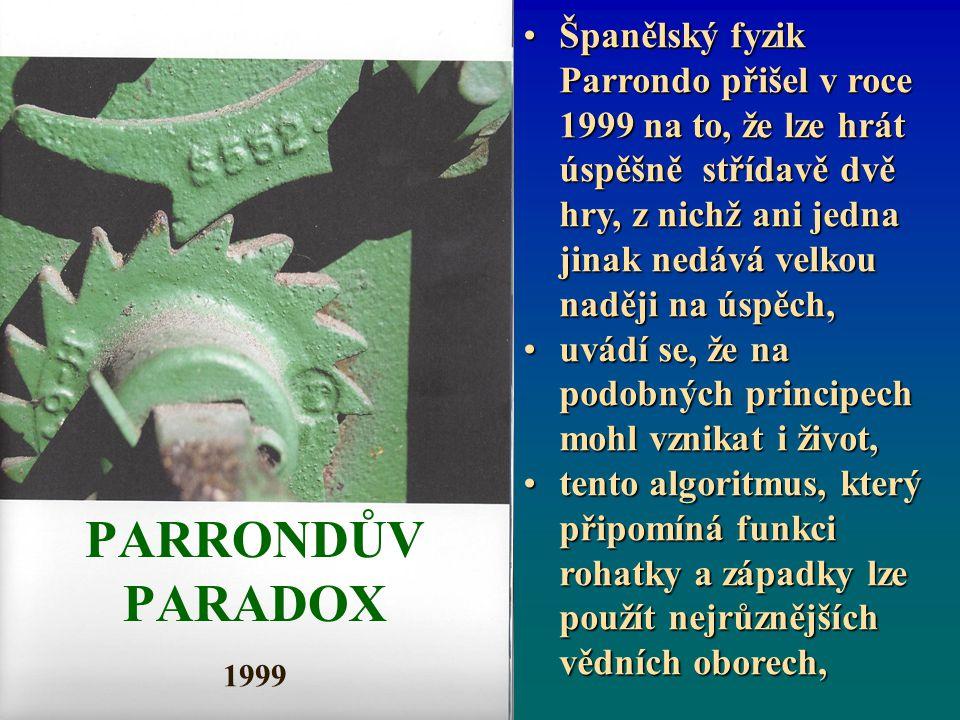 PARRONDŮV PARADOX 1999 Španělský fyzik Parrondo přišel v roce 1999 na to, že lze hrát úspěšně střídavě dvě hry, z nichž ani jedna jinak nedává velkou naději na úspěch,Španělský fyzik Parrondo přišel v roce 1999 na to, že lze hrát úspěšně střídavě dvě hry, z nichž ani jedna jinak nedává velkou naději na úspěch, uvádí se, že na podobných principech mohl vznikat i život,uvádí se, že na podobných principech mohl vznikat i život, tento algoritmus, který připomíná funkci rohatky a západky lze použít nejrůznějších vědních oborech,tento algoritmus, který připomíná funkci rohatky a západky lze použít nejrůznějších vědních oborech,
