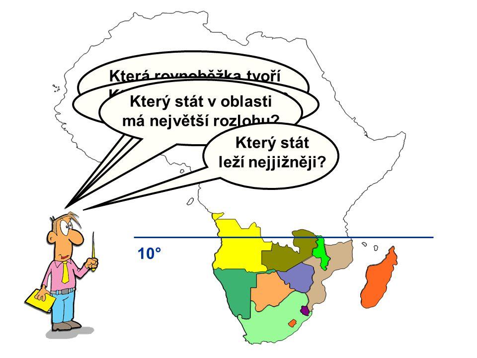 Která rovnoběžka tvoří přibližnou hranici oblasti? 10° Které státy v jižní Africe začínají na
