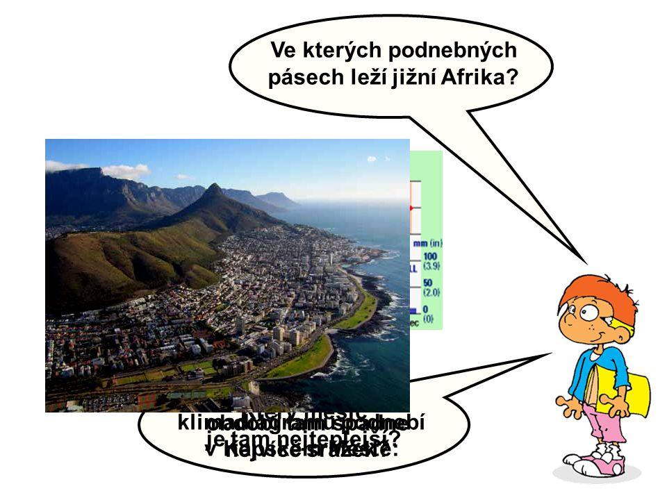 Ve kterých podnebných pásech leží jižní Afrika? Popište podle klimadiagramu podnebí v Kapském Městě: Ve kterém ročním období tam spadne nejvíce srážek