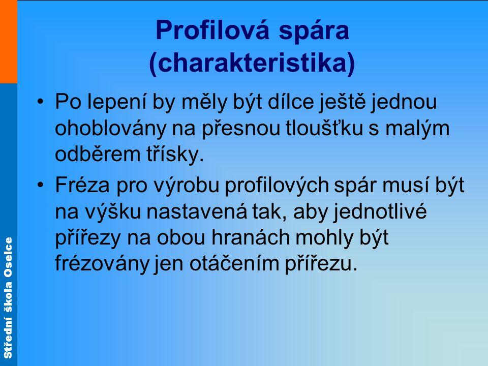 Střední škola Oselce Profilová spára (charakteristika) Po lepení by měly být dílce ještě jednou ohoblovány na přesnou tloušťku s malým odběrem třísky.