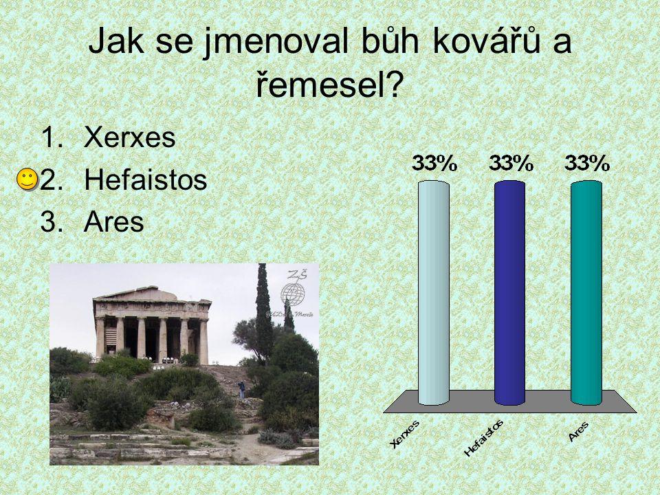 Jak se jmenoval bůh kovářů a řemesel? 1.Xerxes 2.Hefaistos 3.Ares