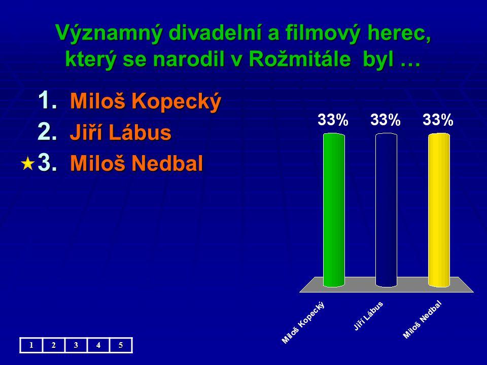 Významný divadelní a filmový herec, který se narodil v Rožmitále byl … 1.