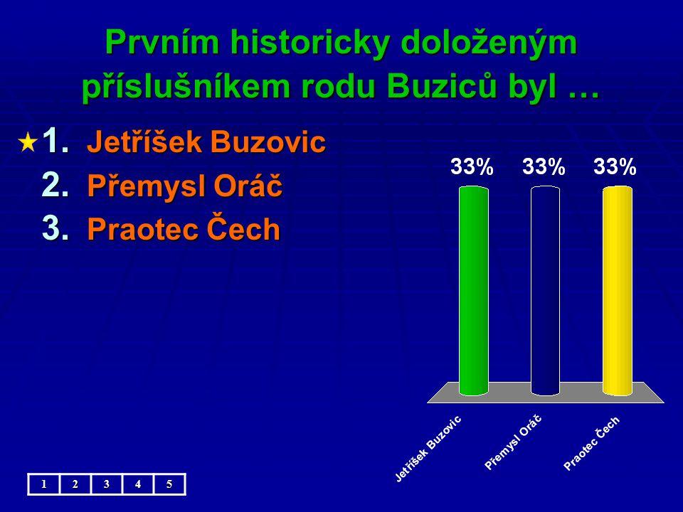 Prvním historicky doloženým příslušníkem rodu Buziců byl … 1.