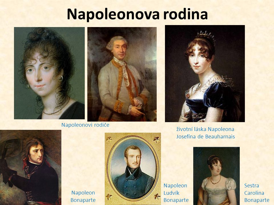 Napoleonova rodina Napoleonovi rodiče Napoleon Bonaparte životní láska Napoleona Josefína de Beauharnais Napoleon Ludvík Bonaparte Sestra Carolina Bonaparte