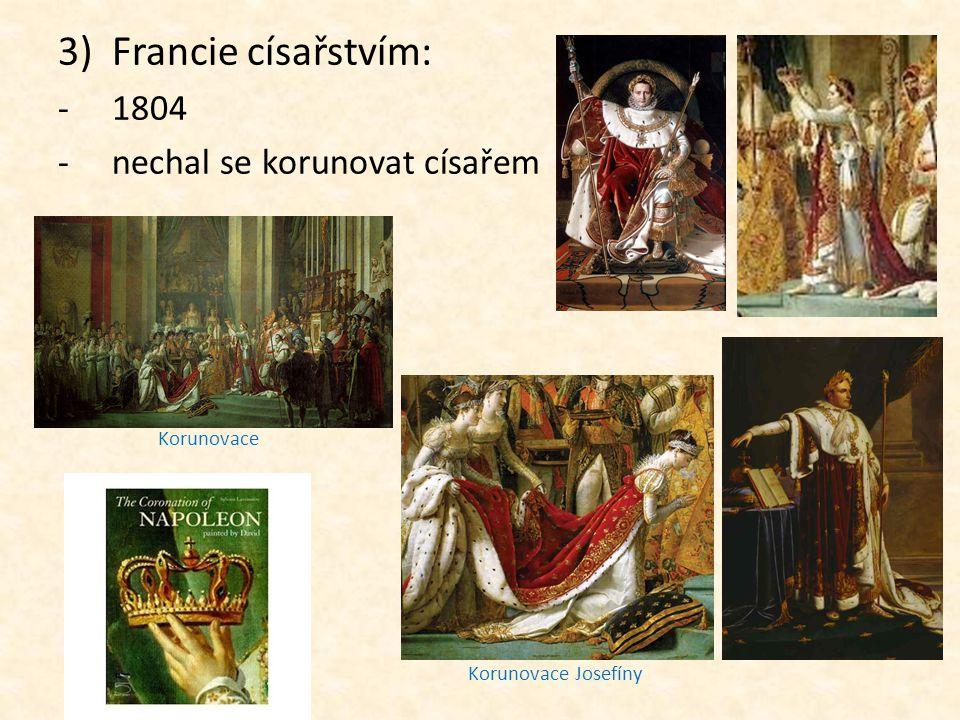 4)Klady a zápory jeho vlády: a)klady: -byly přijaty nové zákony -Občanský zákoník (rovnost všech občanů, zaručení základních práv a svobod) -zlepšilo se hospodářství -měna frank -změny ve školství, kázeň, disciplína Občanský zákoník Napoleonův podpis Francouzský frank