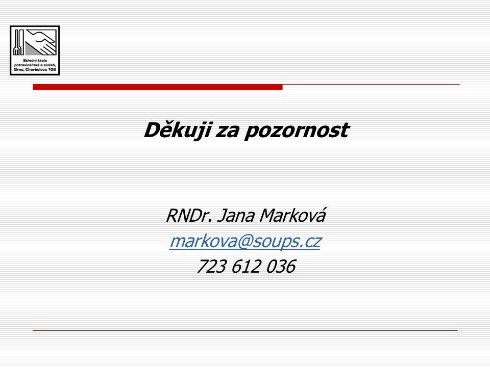 Děkuji za pozornost RNDr. Jana Marková markova@soups.cz 723 612 036