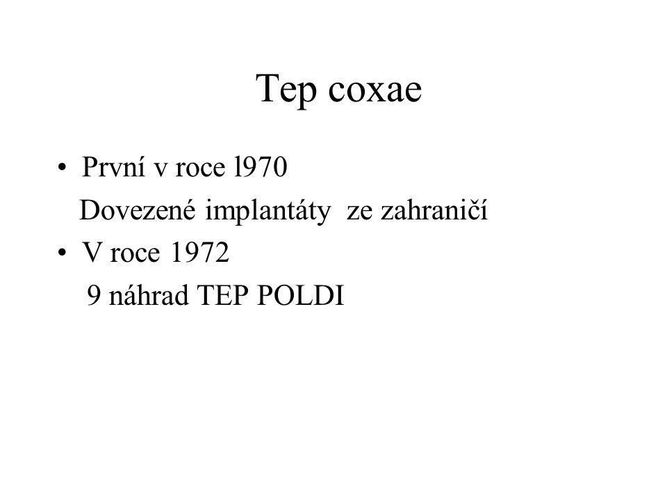 Tep coxae První v roce l970 Dovezené implantáty ze zahraničí V roce 1972 9 náhrad TEP POLDI