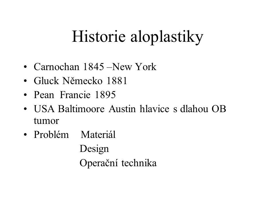 Historie aloplastiky Carnochan 1845 –New York Gluck Německo 1881 Pean Francie 1895 USA Baltimoore Austin hlavice s dlahou OB tumor Problém Materiál De