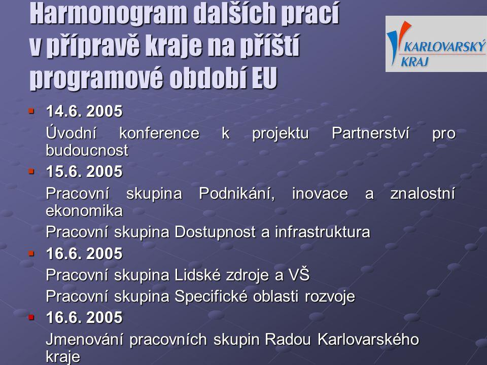 Harmonogram dalších prací v přípravě kraje na příští programové období EU  14.6. 2005 Úvodní konference k projektu Partnerství pro budoucnost  15.6.