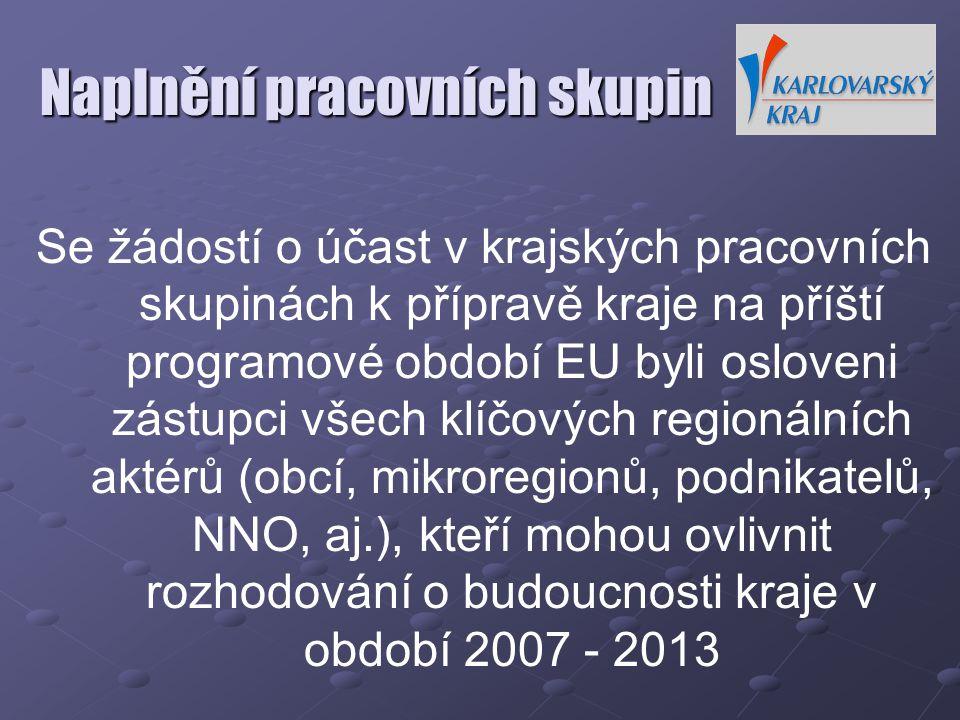 Naplnění pracovních skupin Se žádostí o účast v krajských pracovních skupinách k přípravě kraje na příští programové období EU byli osloveni zástupci všech klíčových regionálních aktérů (obcí, mikroregionů, podnikatelů, NNO, aj.), kteří mohou ovlivnit rozhodování o budoucnosti kraje v období 2007 - 2013