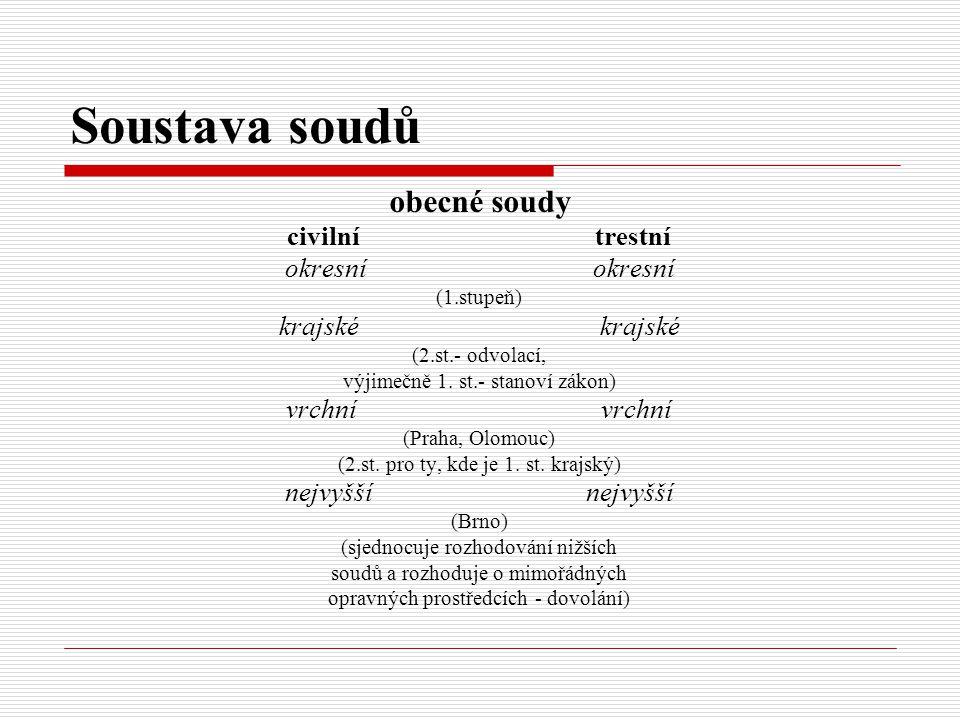 Soustava soudů obecné soudy civilní trestní okresní (1.stupeň) krajské (2.st.- odvolací, výjimečně 1. st.- stanoví zákon) vrchní (Praha, Olomouc) (2.s