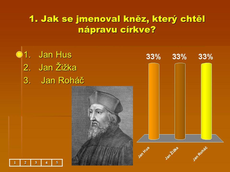 1. Jak se jmenoval kněz, který chtěl nápravu církve? 1.Jan Hus 2.Jan Žižka 3. Jan Roháč 12345