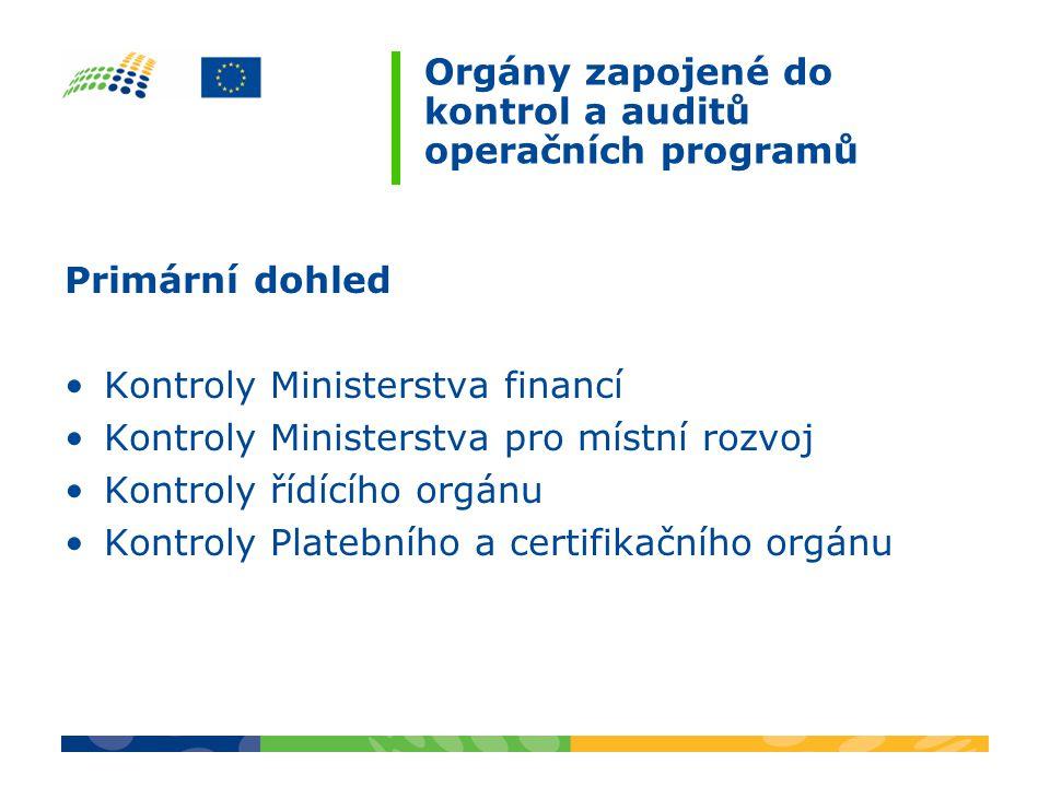 Orgány zapojené do kontrol a auditů operačních programů Primární dohled Kontroly Ministerstva financí Kontroly Ministerstva pro místní rozvoj Kontroly