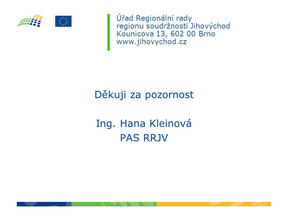 Úřad Regionální rady regionu soudržnosti Jihovýchod Kounicova 13, 602 00 Brno www.jihovychod.cz Děkuji za pozornost Ing. Hana Kleinová PAS RRJV