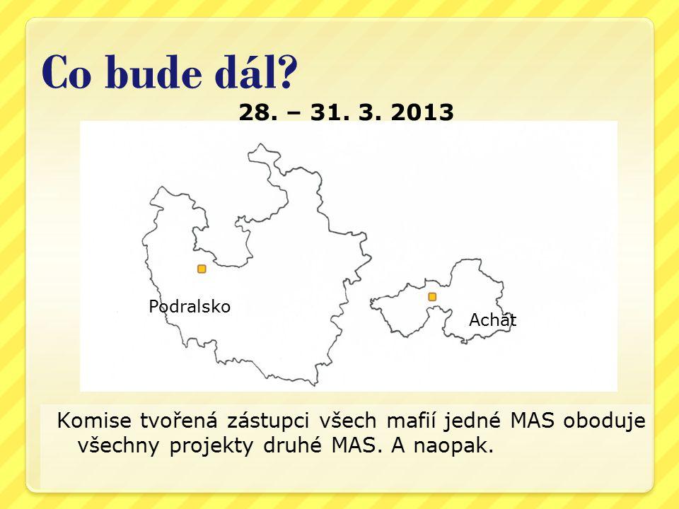 28. – 31. 3. 2013 Komise tvořená zástupci všech mafií jedné MAS oboduje všechny projekty druhé MAS. A naopak. Co bude dál? Podralsko Achát