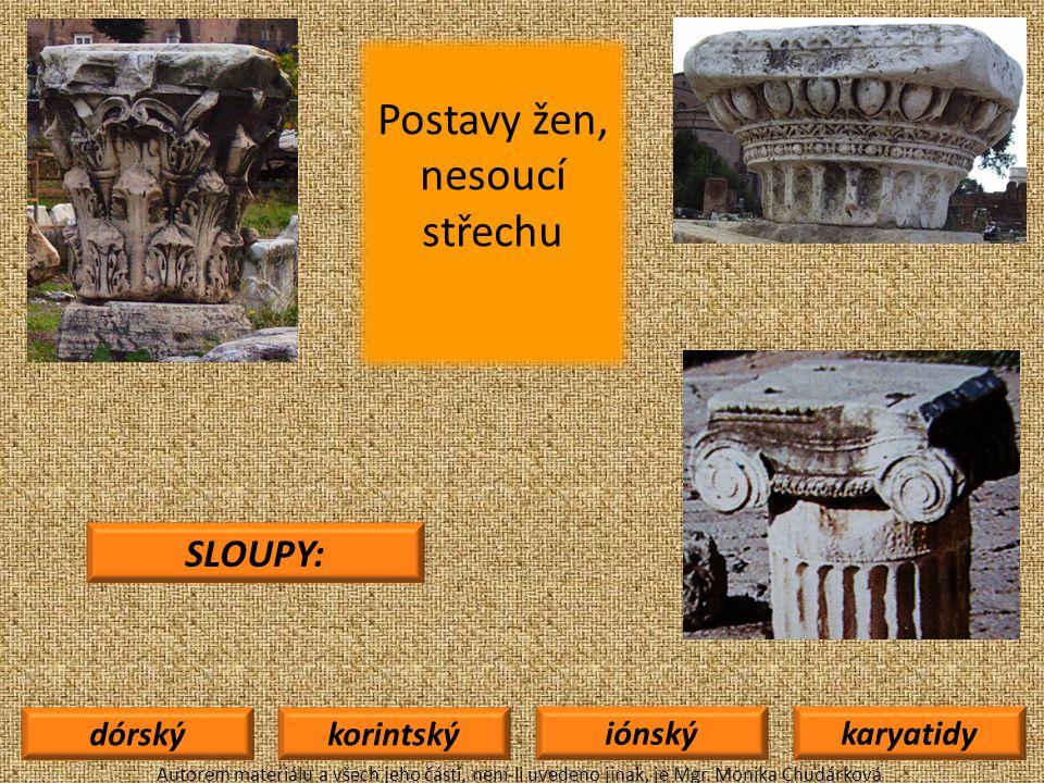 dórskýkorintský iónskýkaryatidy SLOUPY: Autorem materiálu a všech jeho částí, není-li uvedeno jinak, je Mgr.