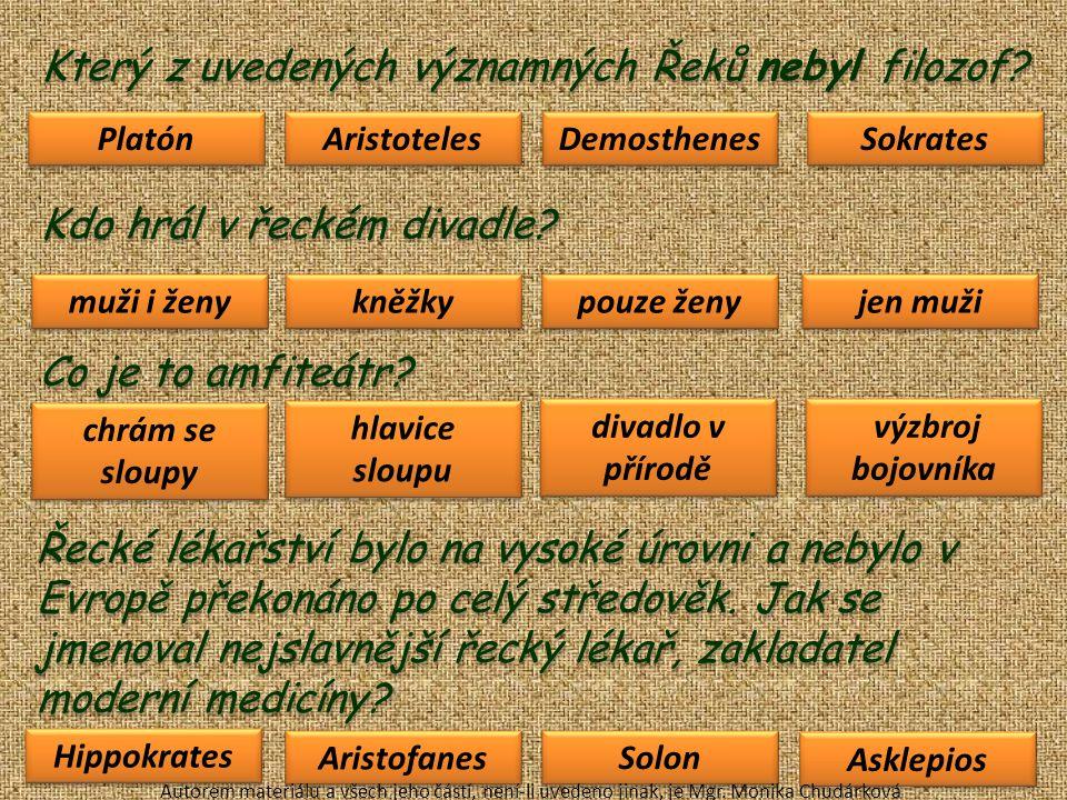 Kliknutím odstraň památky, které nejsou řecké: Autorem materiálu a všech jeho částí, není-li uvedeno jinak, je Mgr.
