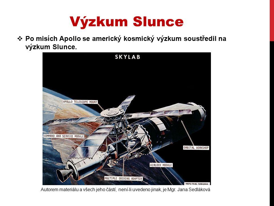  Po misích Apollo se americký kosmický výzkum soustředil na výzkum Slunce.