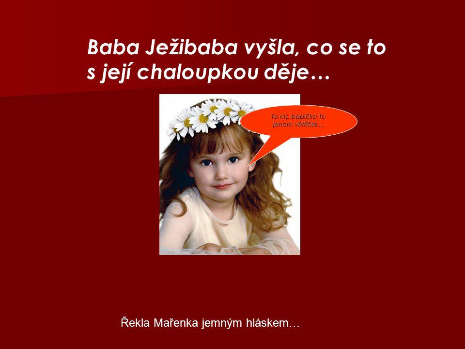 Baba Ježibaba vyšla, co se to s její chaloupkou děje… To nic babičko to jenom větříček… Řekla Mařenka jemným hláskem…