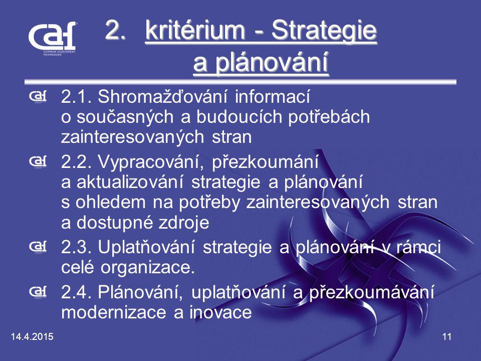14.4.201511 2.kritérium - Strategie a plánování kritérium - Strategie a plánováníkritérium - Strategie a plánování 2.1.