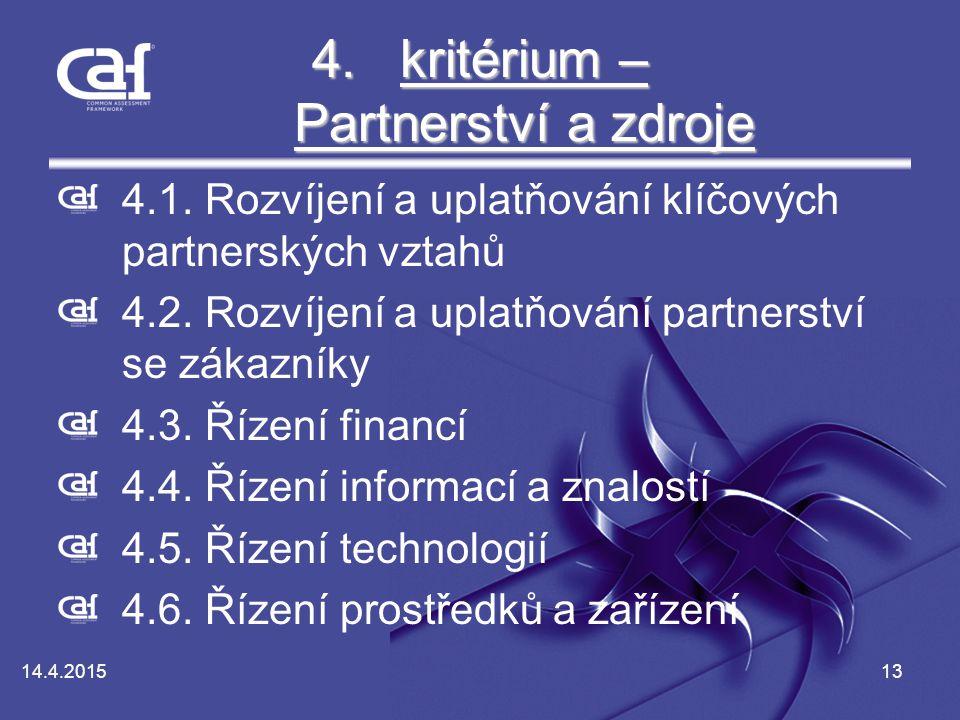 14.4.201513 4.kritérium – Partnerství a zdroje kritérium – Partnerství a zdrojekritérium – Partnerství a zdroje 4.1.