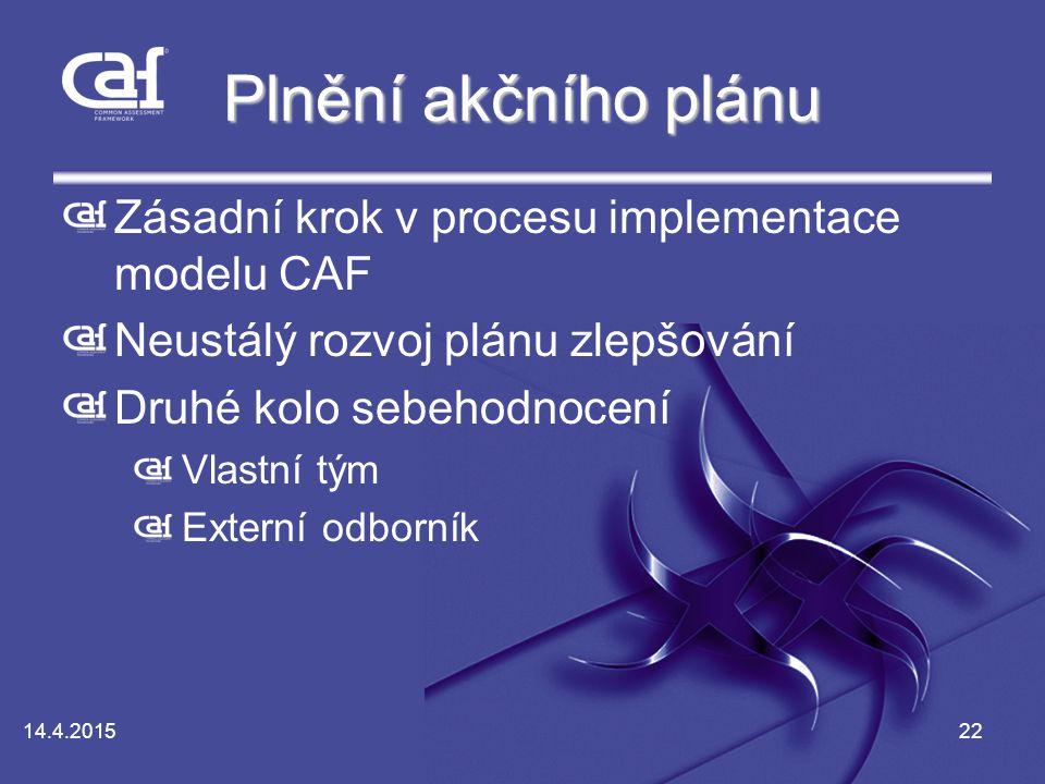 14.4.201522 Plnění akčního plánu Zásadní krok v procesu implementace modelu CAF Neustálý rozvoj plánu zlepšování Druhé kolo sebehodnocení Vlastní tým Externí odborník