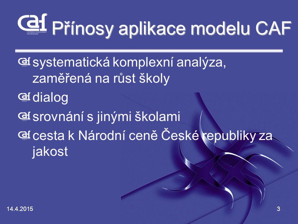 14.4.20153 Přínosy aplikace modelu CAF systematická komplexní analýza, zaměřená na růst školy dialog srovnání s jinými školami cesta k Národní ceně České republiky za jakost