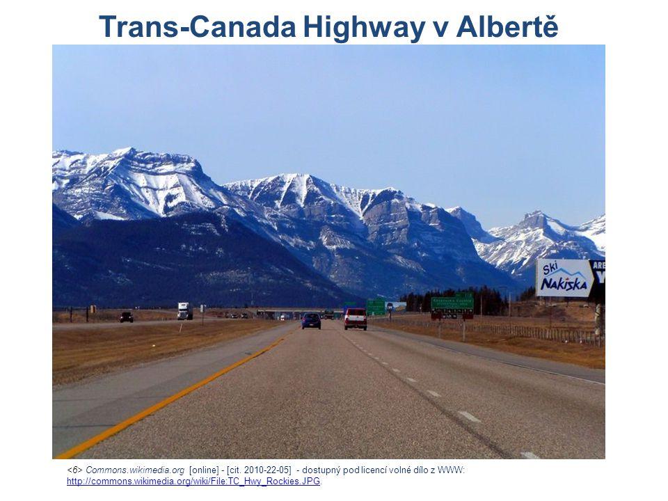 Trans-Canada Highway v Albertě Commons.wikimedia.org [online] - [cit. 2010-22-05] - dostupný pod licencí volné dílo z WWW: http://commons.wikimedia.or