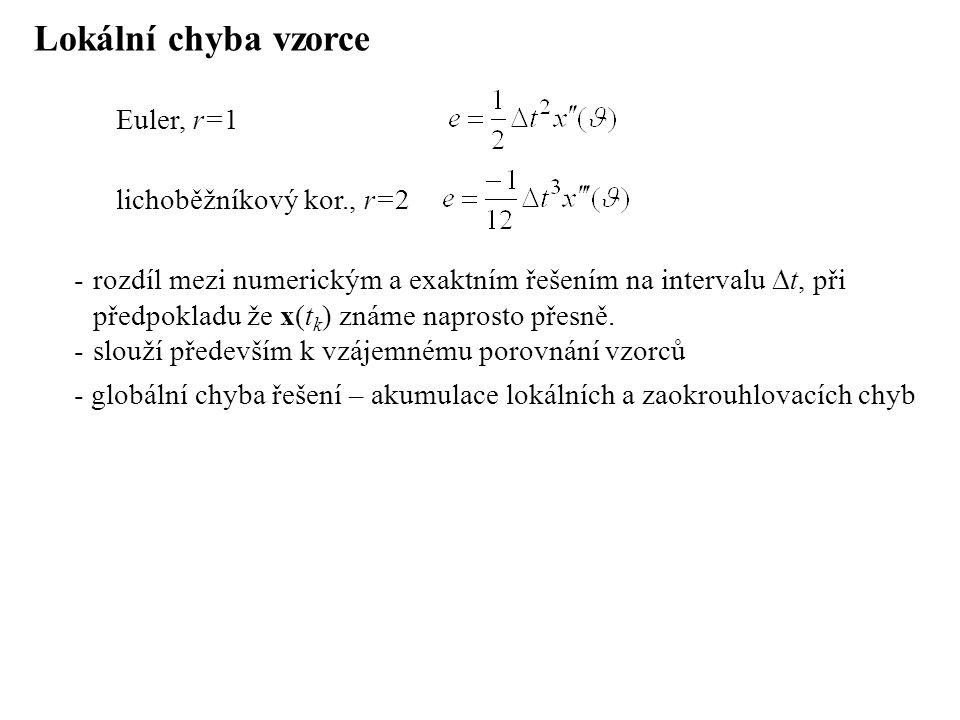 Lokální chyba vzorce -rozdíl mezi numerickým a exaktním řešením na intervalu  t, při předpokladu že x(t k ) známe naprosto přesně. -slouží především