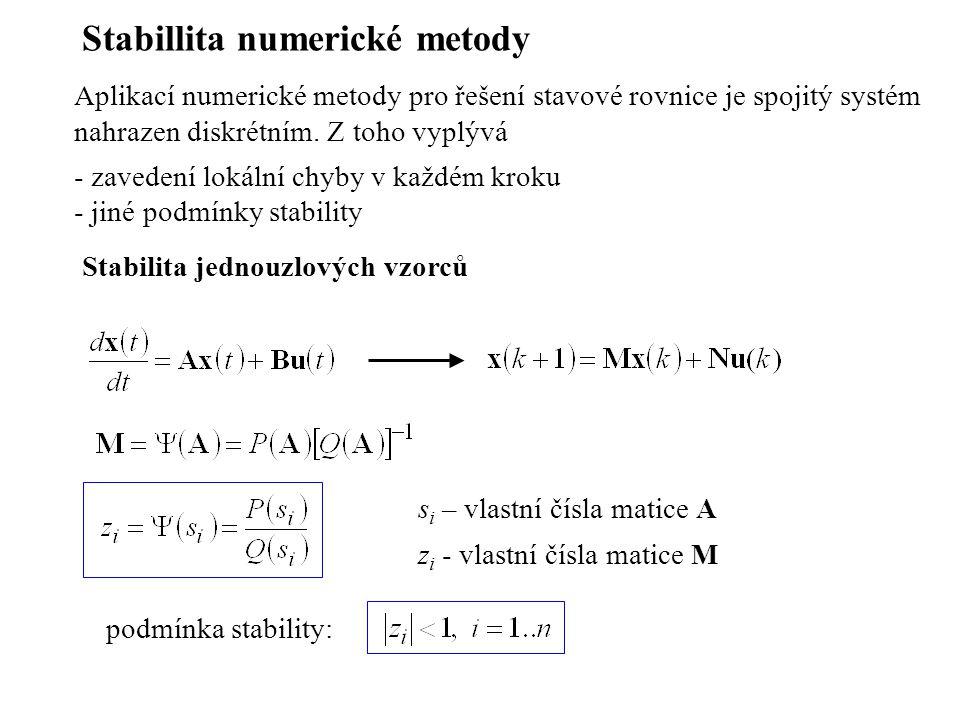 Stabillita numerické metody Aplikací numerické metody pro řešení stavové rovnice je spojitý systém nahrazen diskrétním. Z toho vyplývá - zavedení loká