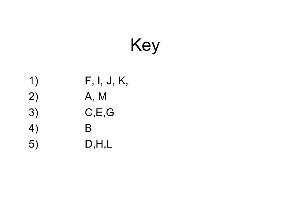 Key 1) F, I, J, K, 2)A, M 3)C,E,G 4)B 5)D,H,L
