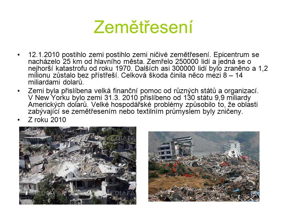 Zemětřesení 12.1.2010 postihlo zemi postihlo zemi ničivé zemětřesení. Epicentrum se nacházelo 25 km od hlavního města. Zemřelo 250000 lidí a jedná se