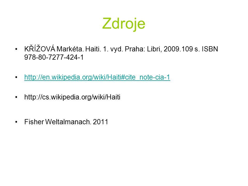 Zdroje KŘÍŽOVÁ Markéta. Haiti. 1. vyd. Praha: Libri, 2009.109 s. ISBN 978-80-7277-424-1 http://en.wikipedia.org/wiki/Haiti#cite_note-cia-1 http://cs.w