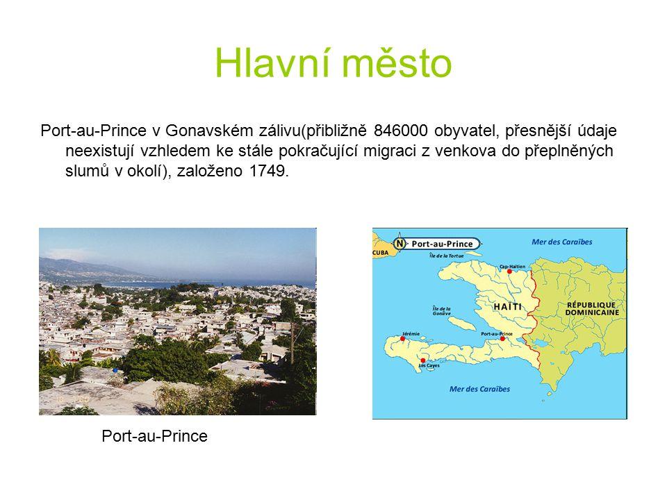 Hlavní město Port-au-Prince v Gonavském zálivu(přibližně 846000 obyvatel, přesnější údaje neexistují vzhledem ke stále pokračující migraci z venkova d