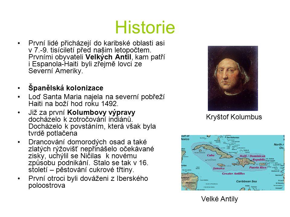 Historie První lidé přicházejí do karibské oblasti asi v 7.-9. tisíciletí před našim letopočtem. Prvními obyvateli Velkých Antil, kam patří i Espanola