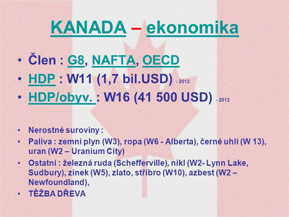 KANADAKANADA – ekonomikaekonomika Člen : G8, NAFTA, OECDG8NAFTAOECD HDP : W11 (1,7 bil.USD) - 2012HDP HDP/obyv. : W16 (41 500 USD) - 2012HDP/obyv. Ner