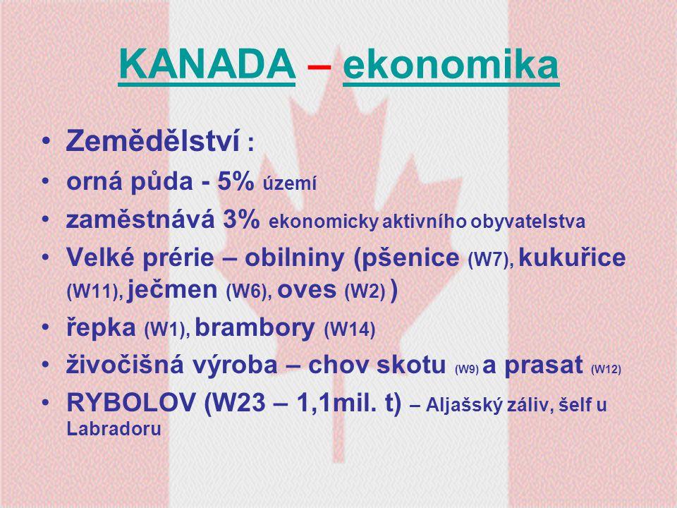 KANADAKANADA – ekonomikaekonomika Zemědělství : orná půda - 5% území zaměstnává 3% ekonomicky aktivního obyvatelstva Velké prérie – obilniny (pšenice