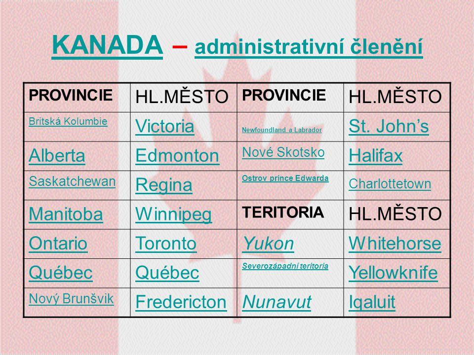 KANADAKANADA – administrativní členění administrativní členění PROVINCIE HL.MĚSTO PROVINCIE HL.MĚSTO Britská Kolumbie Victoria Newfoundland a Labrador