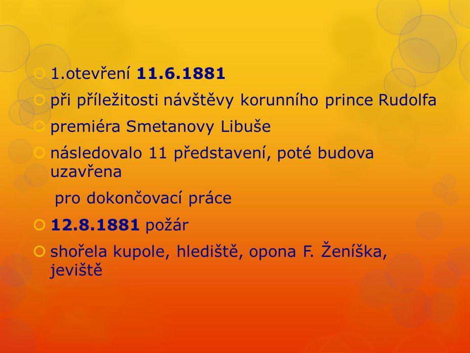  1.otevření 11.6.1881  při příležitosti návštěvy korunního prince Rudolfa  premiéra Smetanovy Libuše  následovalo 11 představení, poté budova uzav
