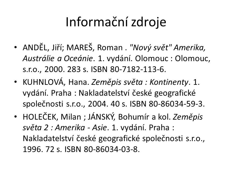 Informační zdroje ANDĚL, Jiří; MAREŠ, Roman.