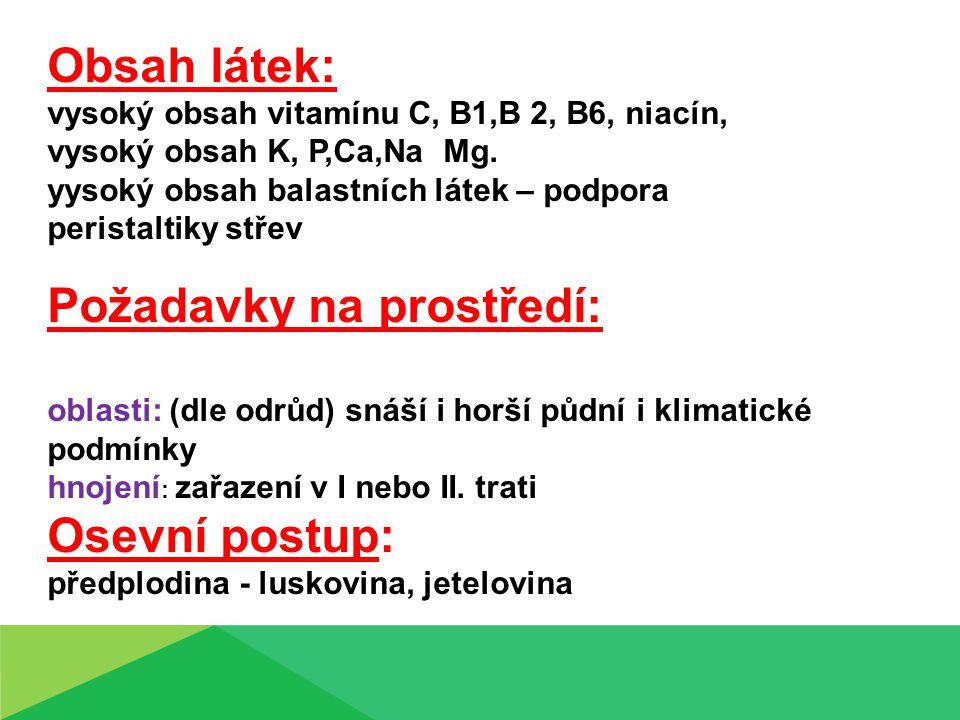 Obsah látek: vysoký obsah vitamínu C, B1,B 2, B6, niacín, vysoký obsah K, P,Ca,Na Mg. yysoký obsah balastních látek – podpora peristaltiky střev Požad